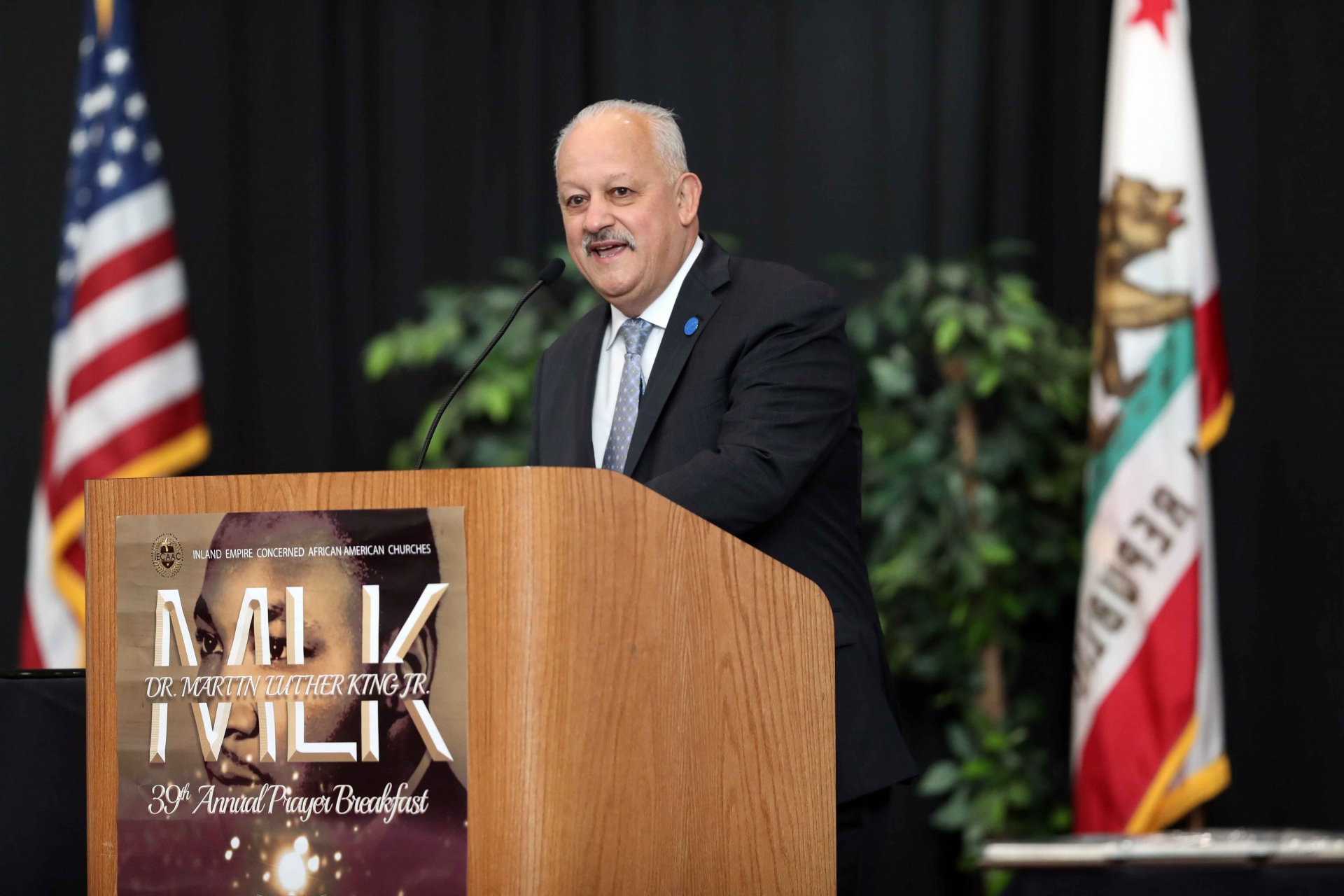 Tomás D. Morales, president of CSUSB, speaks at the 39th Annual Martin Luther King Jr. Prayer Breakfast.