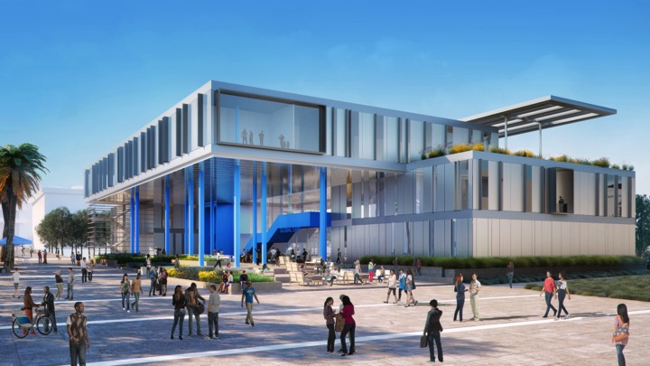 An architect's rendering of the Center for Global Innovation at Cal State San Bernardino.