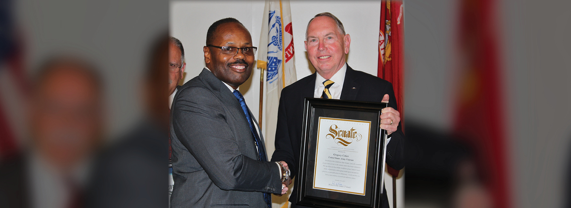CSUSB graduate recognized by state Sen. Roth for his work with Inland Empire military veterans