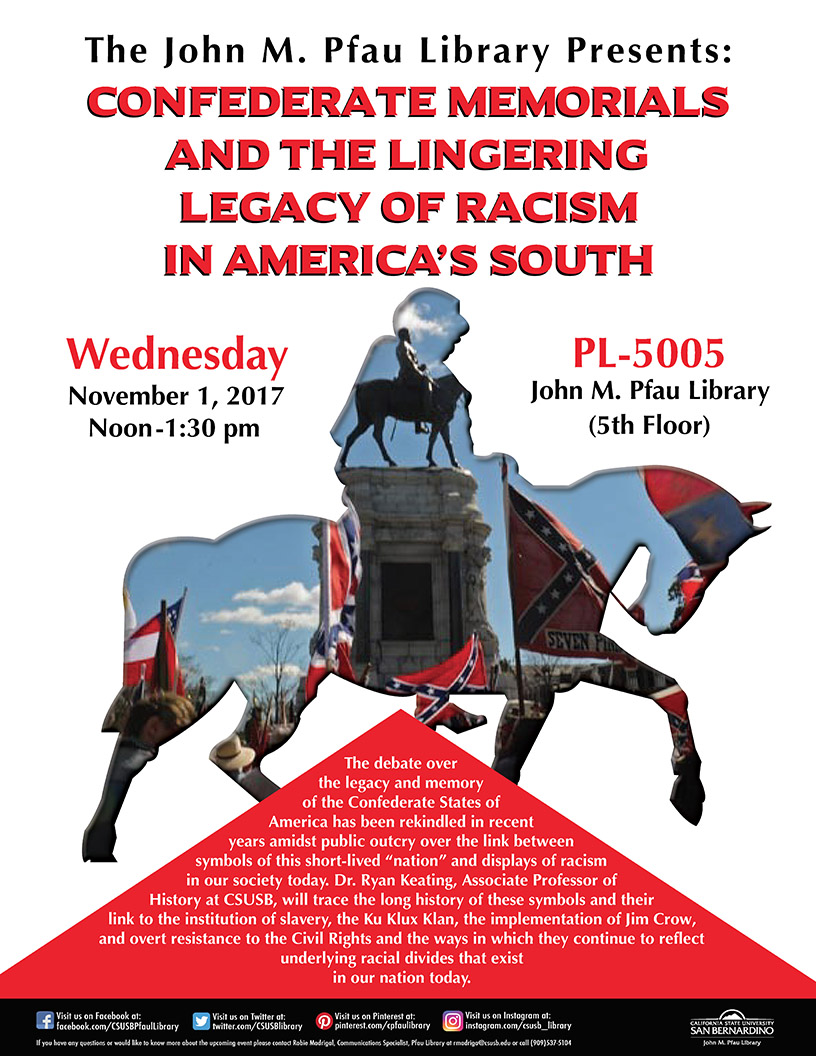 Confederate memorials, racism and America's South topic of talk on Nov. 1 at CSUSB