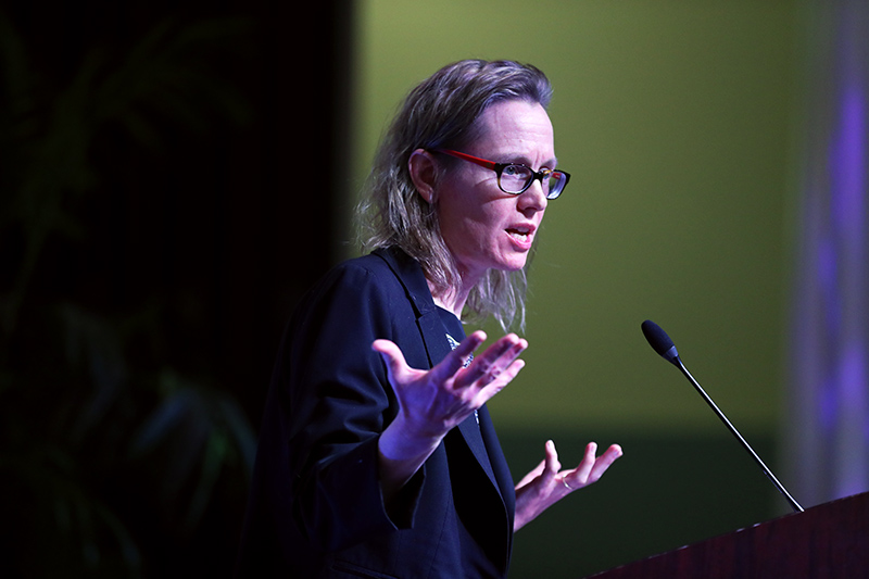 Marianne Cooper, sociologist at the Clayman Institute for Gender Research at Stanford University, shared her expertise on gender, women's leadership, diversity and inclusion, and economic inequality. Photo: Robert A. Whitehead/CSUSB