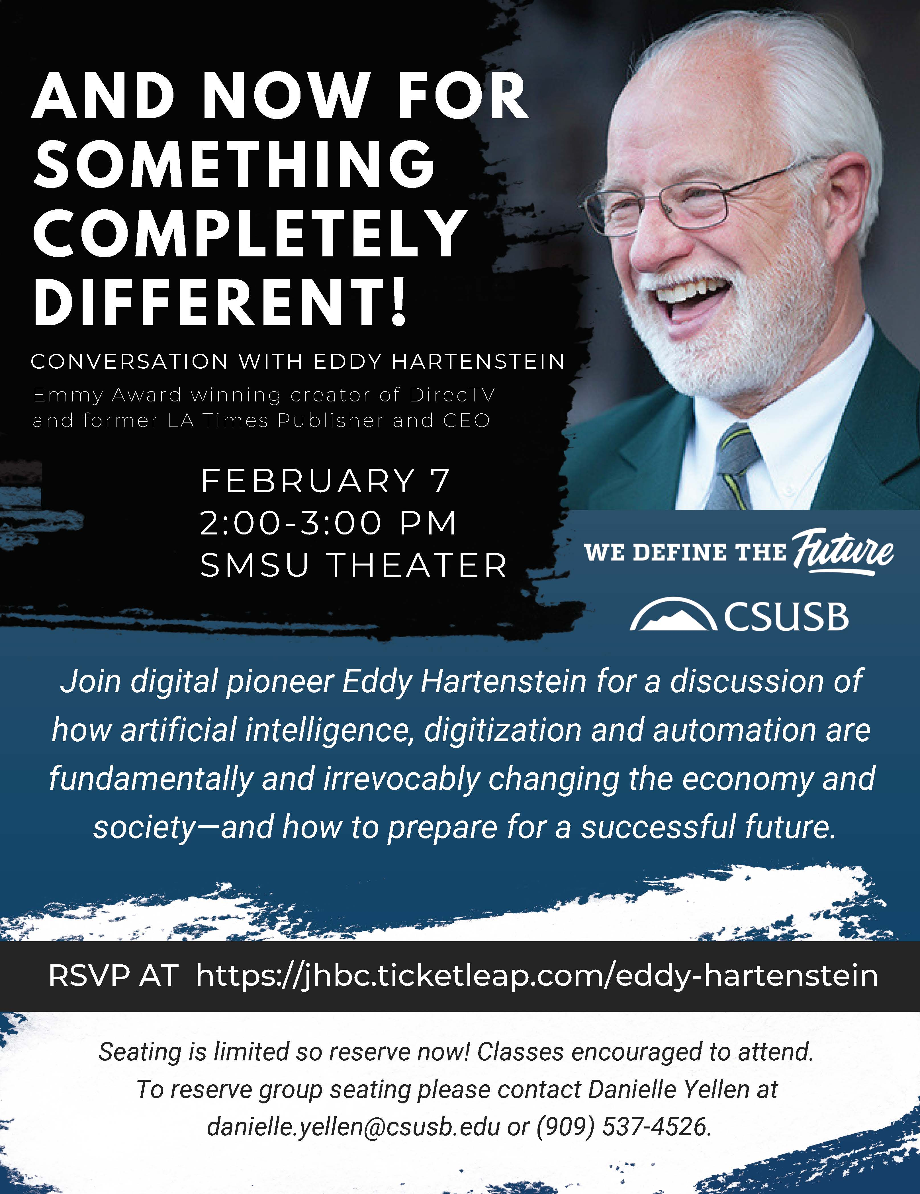 Eddy Hartenstein will visit the campus on Thursday, Feb. 7, and discuss artificial intelligence, digitalization and automation, how they change the economy and society – and how to prepare for a successful future.