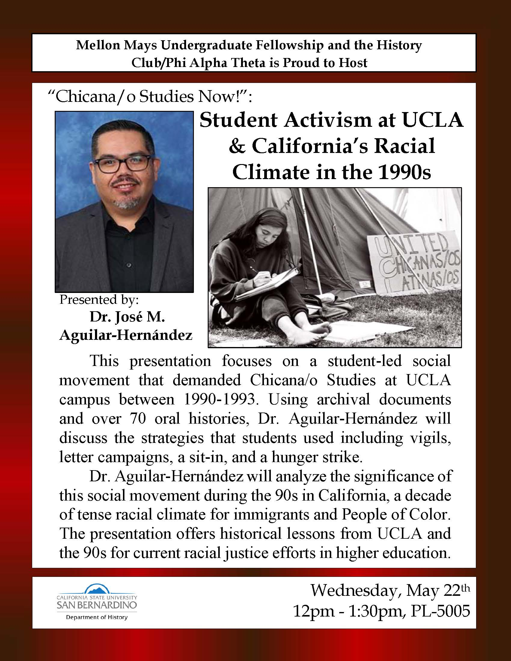 """""""Chicana/o Studies Now!: Student Activism at UCLA & California's Racial Climate in the 1990s,"""" by José M. Aguilar-Hernández, is set for May 22"""