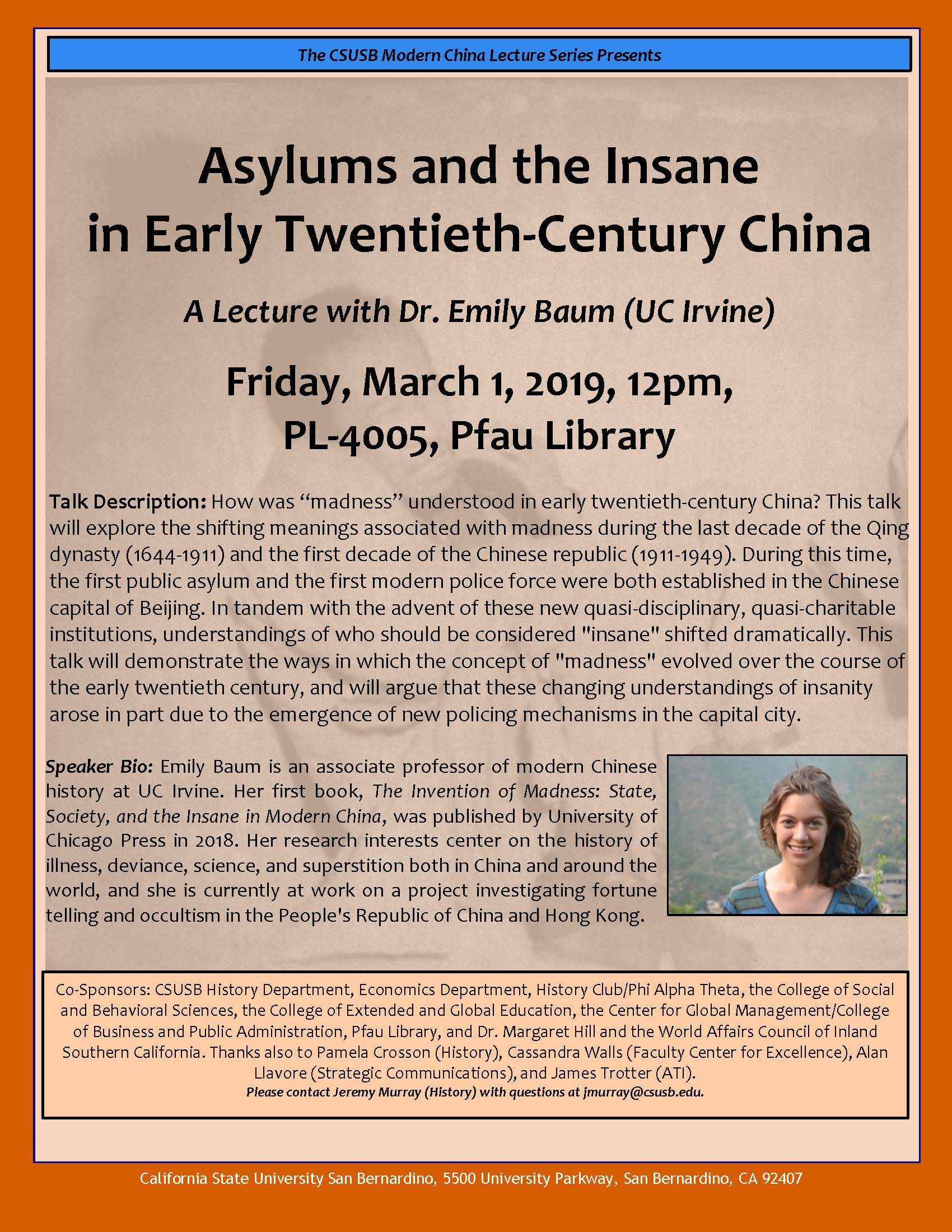 Modern China Lecture Series resumes March 1 with presentation on mental health in early 20th century China
