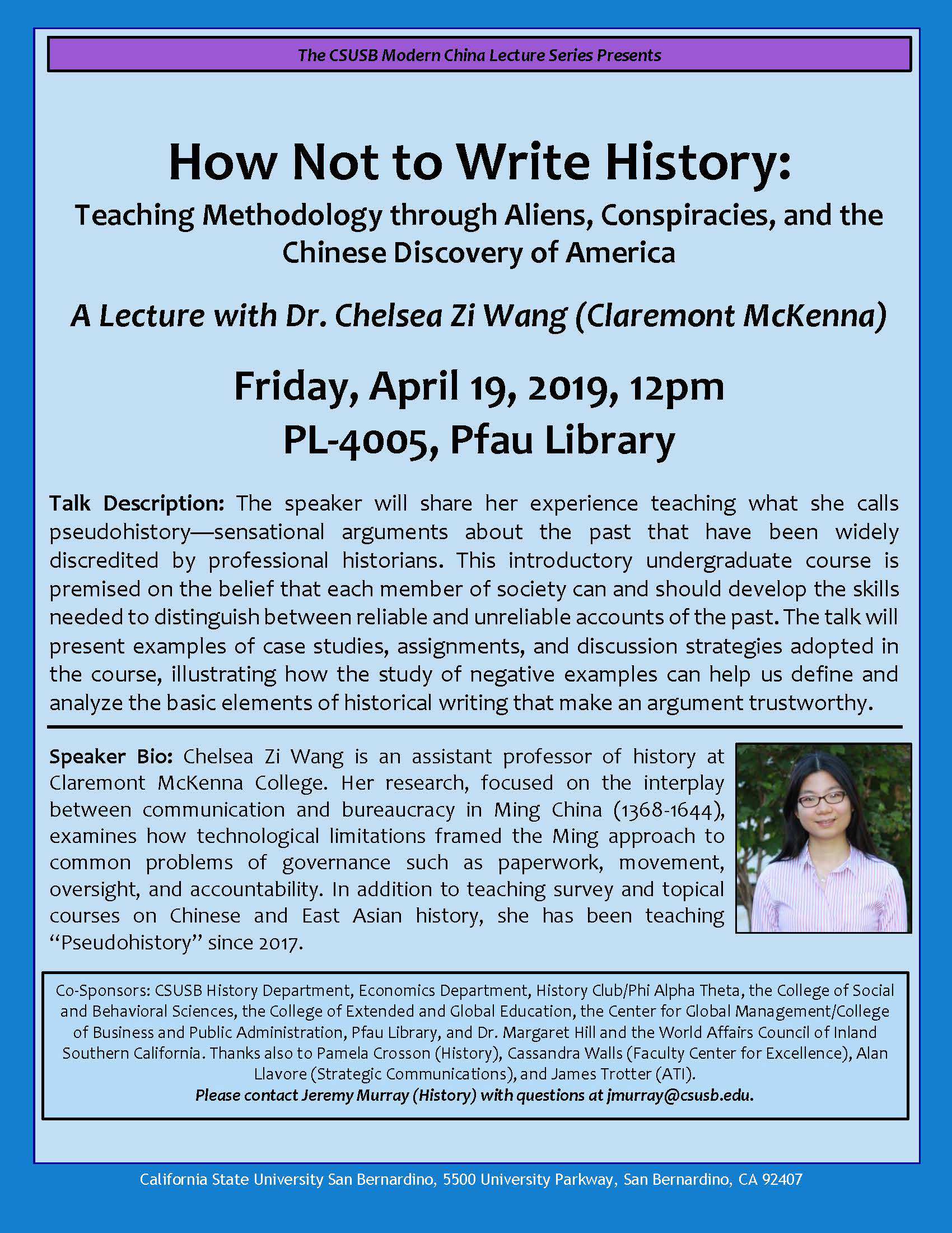 Examination of 'pseudohistory' and how to uncover trustworthy accounts focus of next Modern China Lecture