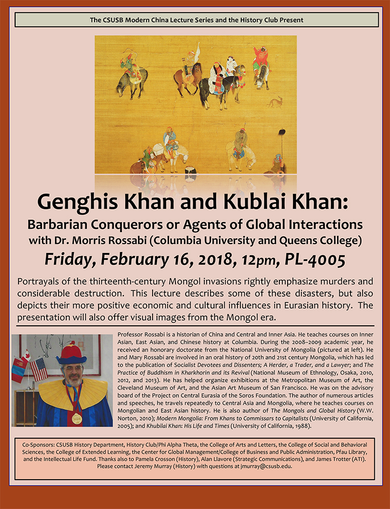 Influences, good and bad, of Genghis Khan and Kublai Khan topic of next Modern China Lecture