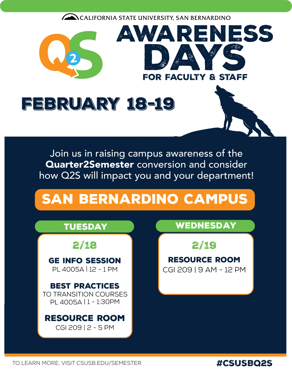 Q2S Awareness Days for faculty and staff set for Feb. 18-19