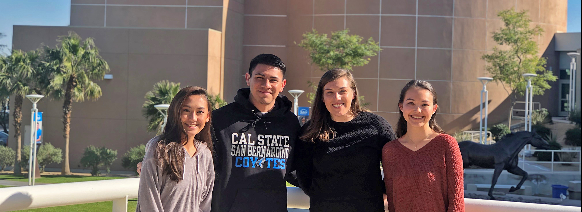 Representative of The Annexstad Family Foundation meets with CSUSB Palm Desert Campus students it supports through its Leaders of Tomorrow Scholarship