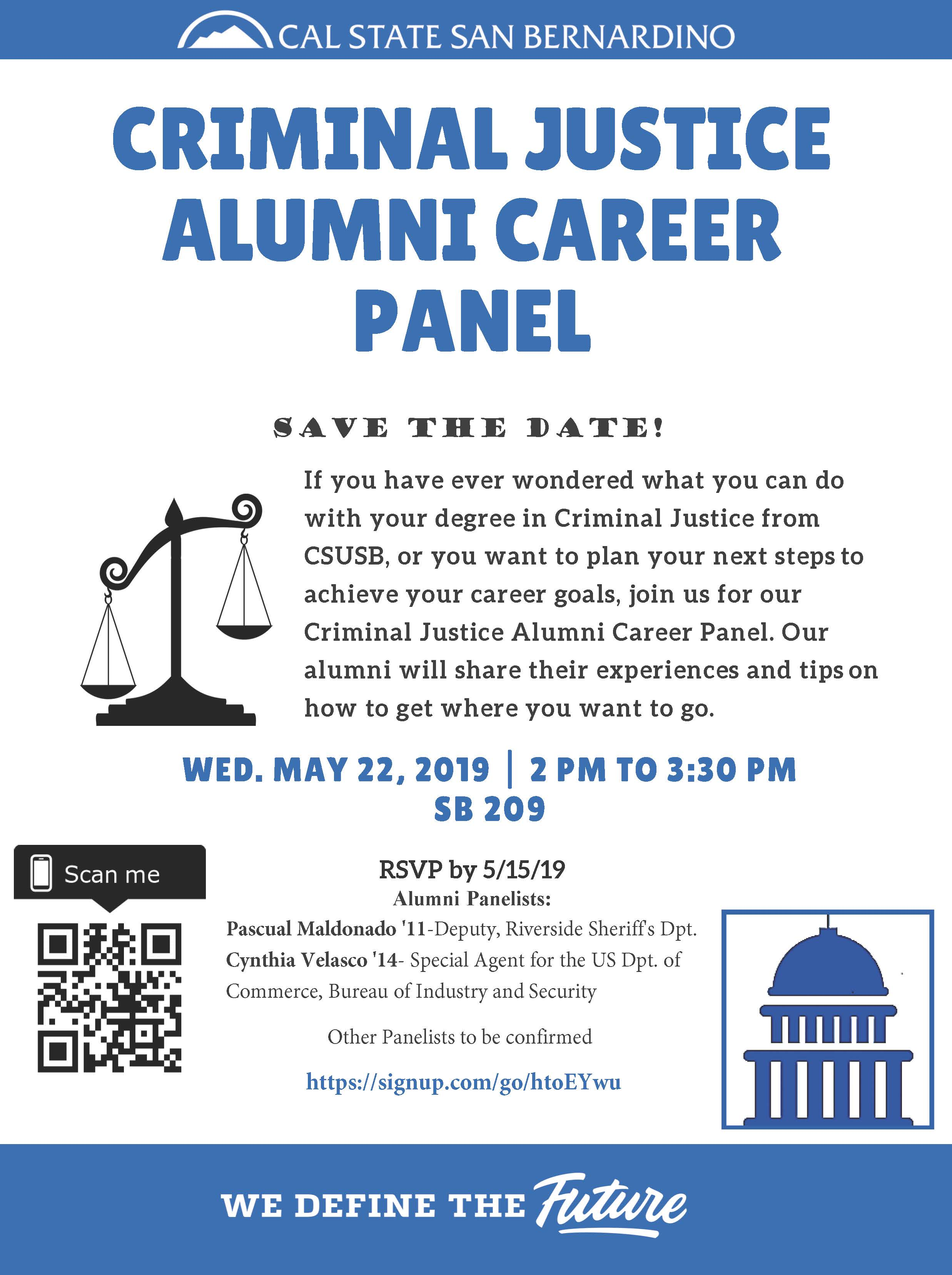 Criminal justice alumni career panel set for May 22