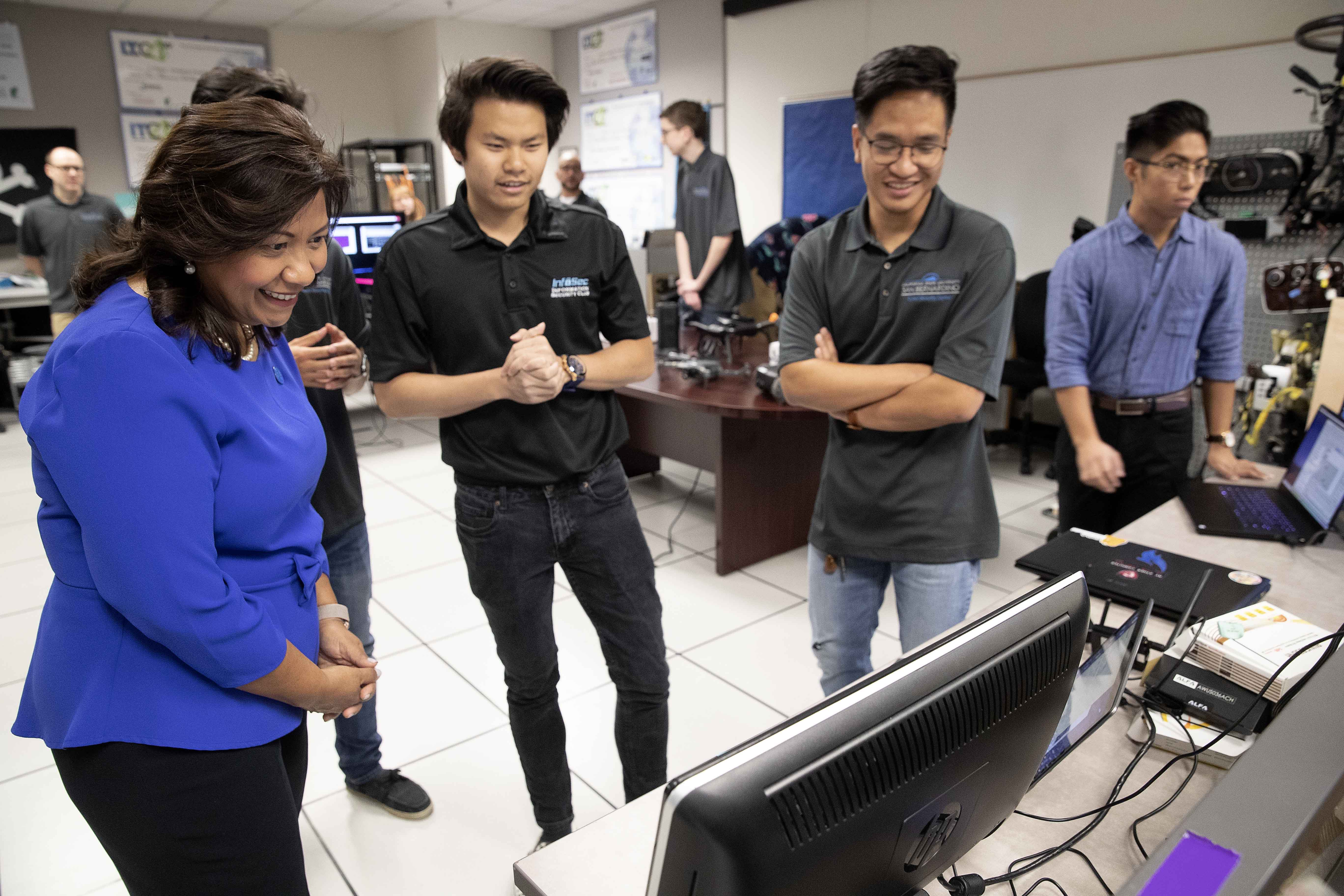 Torres's visit included a tour of the CSUSB Cybersecurity Center