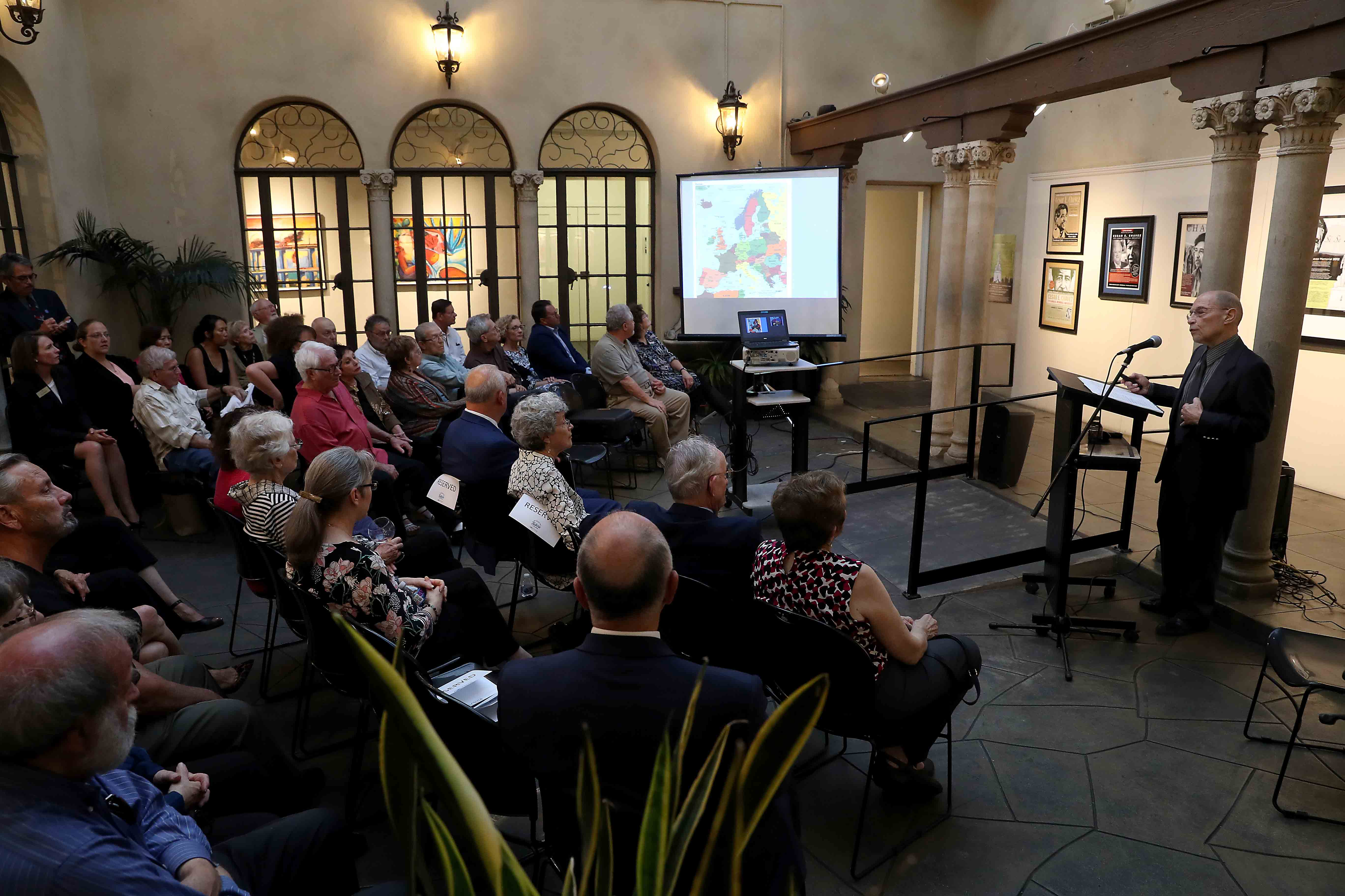 """""""Remnants of Jewish Life in Post-Holocaust Europe: A Personal Journey,"""" was given twice, May 13 at Cal State San Bernardino's Palm Desert Campus in Palm Desert, and May 14 at the Riverside Art Musuem in Riverside."""