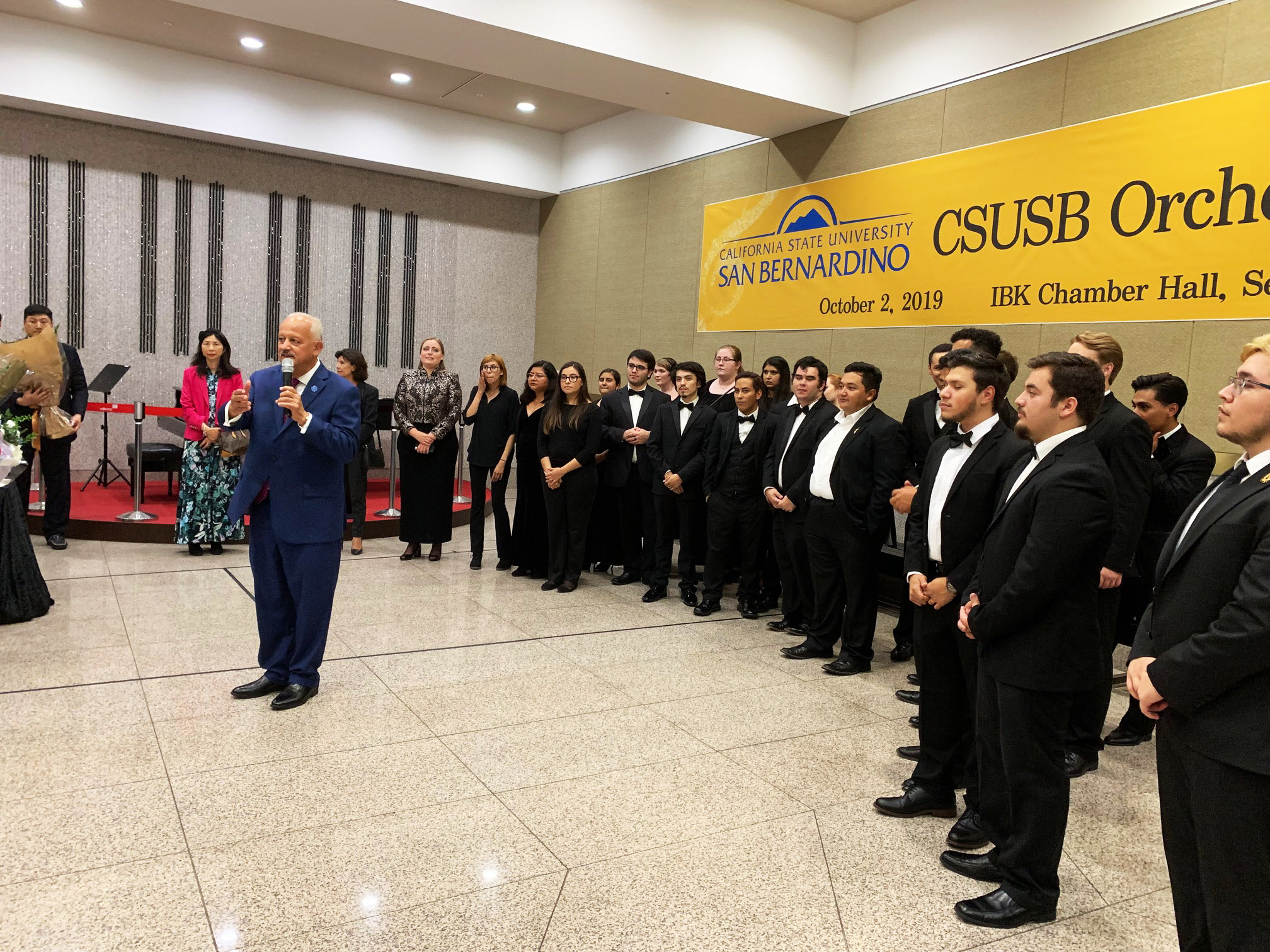 CSUSB President Tomás D. Morales speaking at the CSUSB Orchestra Concert