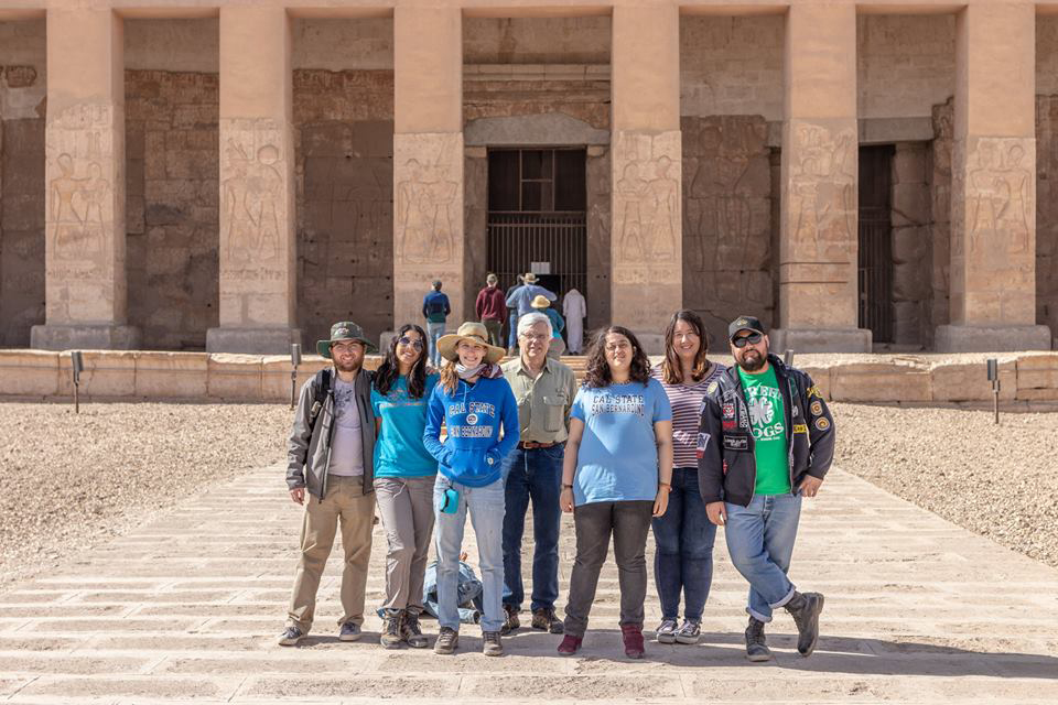 A group of CSUSB students led by Kate Liszka, assistant professor of history and CSUSB's Pamela and Benson Harer Fellow specializing in Egyptology, are currently in Egypt working on archaeological projects, part of theWadi El-Hudi Expedition.