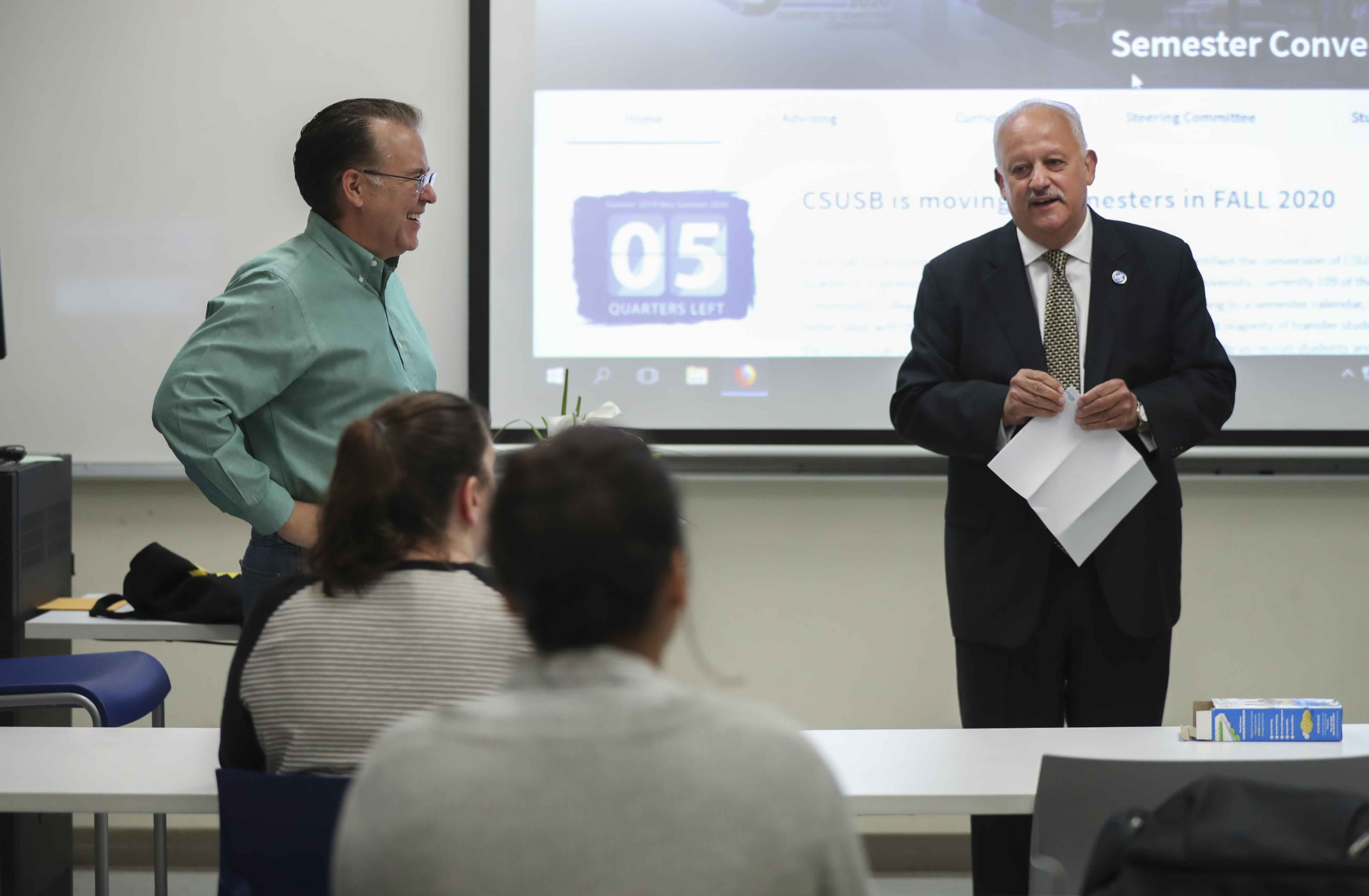 CSUSB President Tomás D. Morales led a group of about 30 faculty, staff and administrators to congratulate Long with the news during one of his classes.