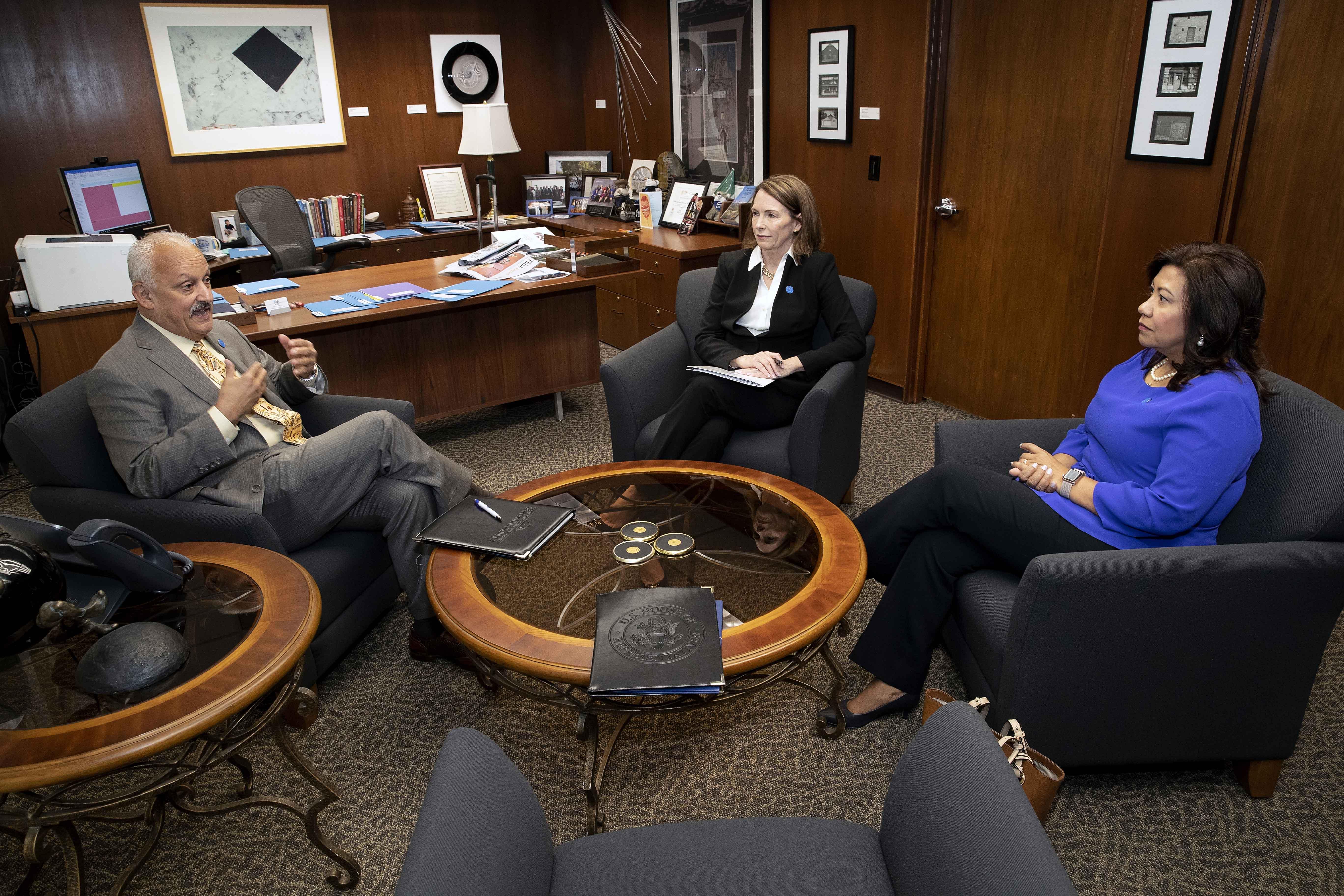 CSUSB President Tomas Morales also met with U.S. Rep Torres