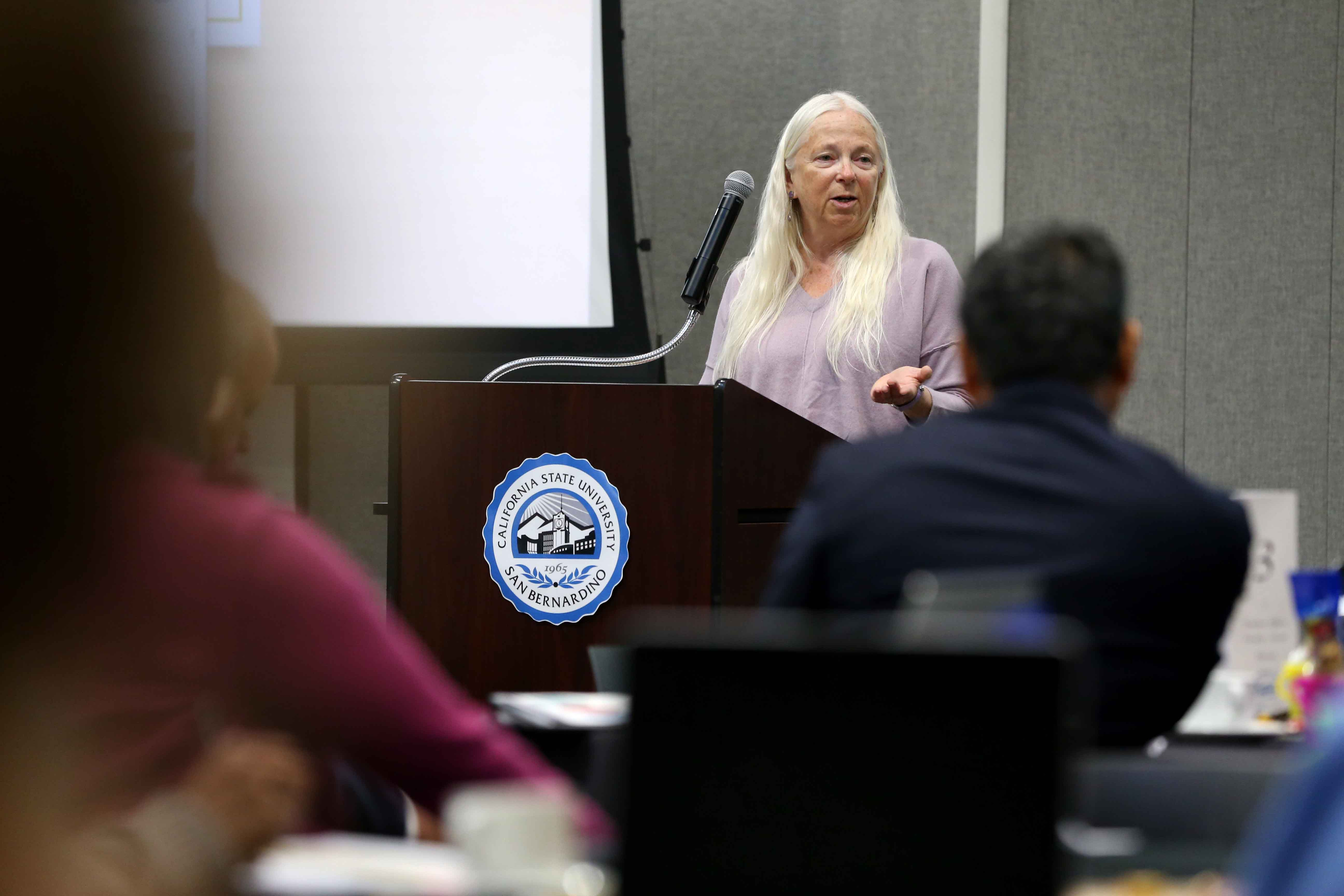 Karen Kolehmainen, a professor of physics and chair of the CSUSB faculty senate, also welcomed the group, reminding faculty members what brought them to the university.