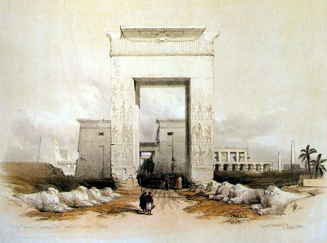 """""""Egypt and Nubia,"""" by David Roberts, front page of Vol. 3. Detail. © Public Domain (full version)."""