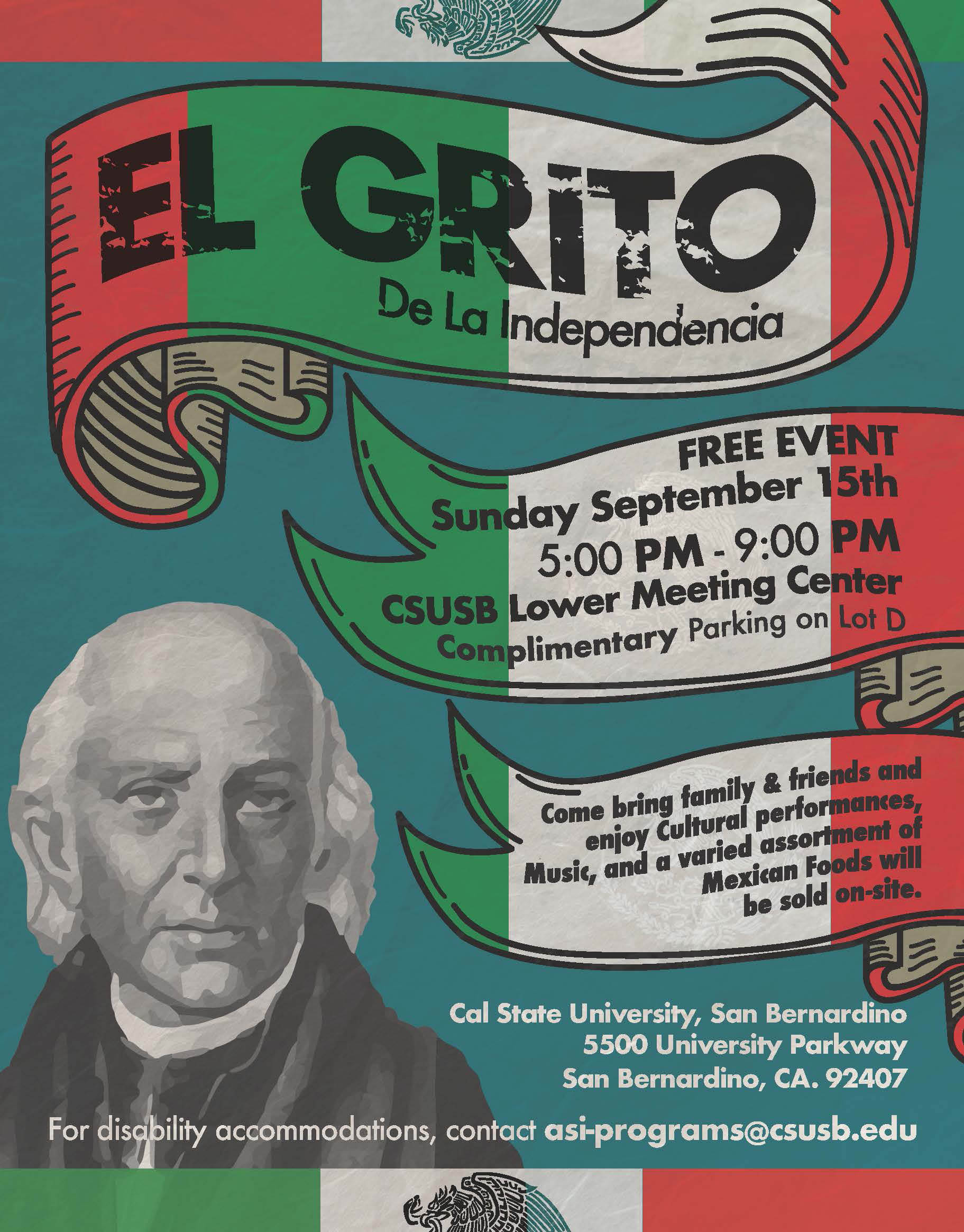 CSUSB & Mexican Consulate to host Mexican Independence Day celebration on campus on Sept. 15, flier.
