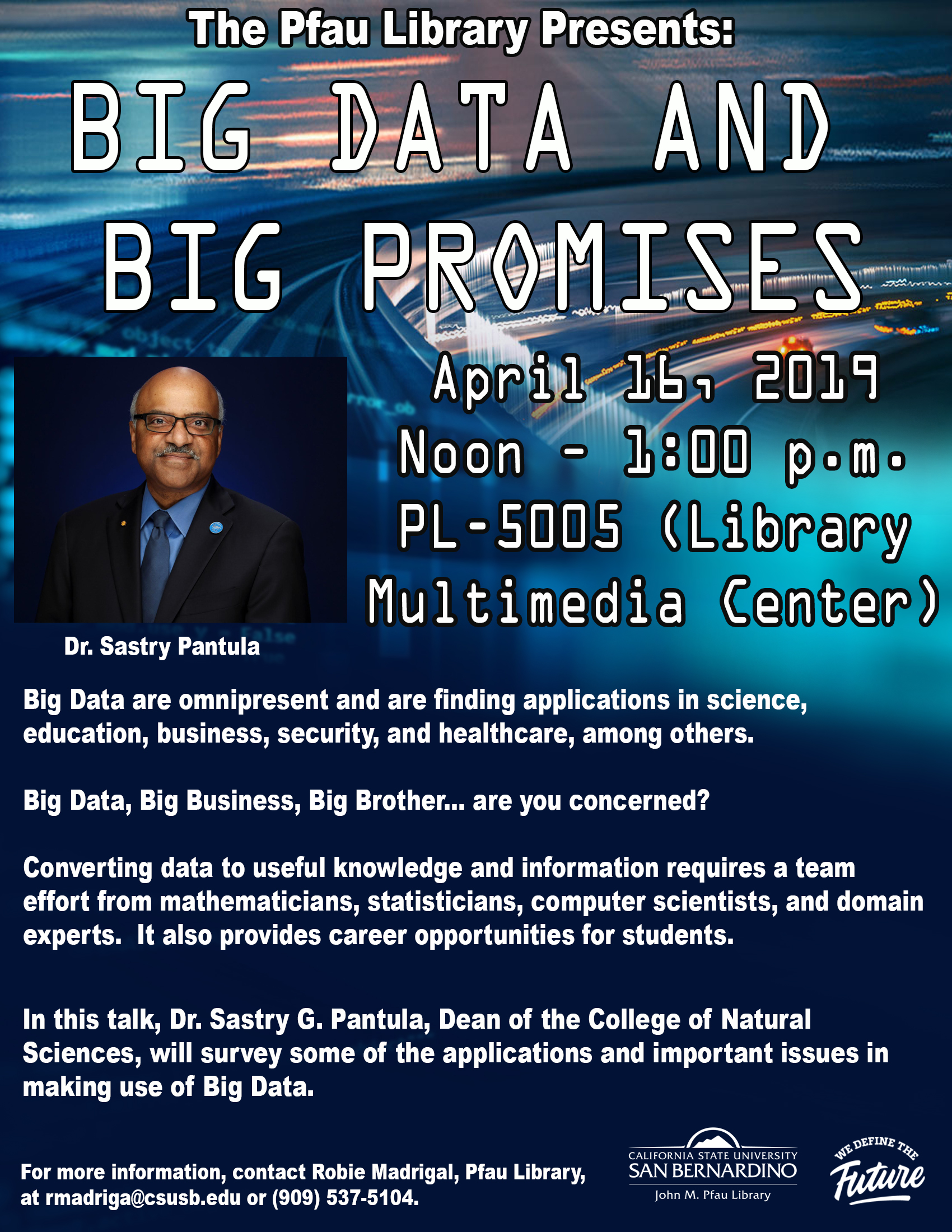CSUSB dean holds talk at Pfau Library on April 16 on Big Data